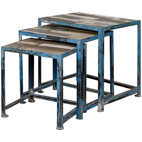Occasional Accents Three Reclaimed Wood  Iron Nesting Tables with