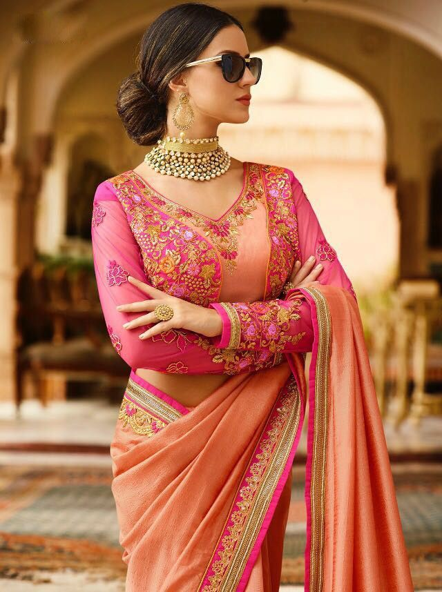 2017 celebrity style wedding wear peach saree in pure crape silk