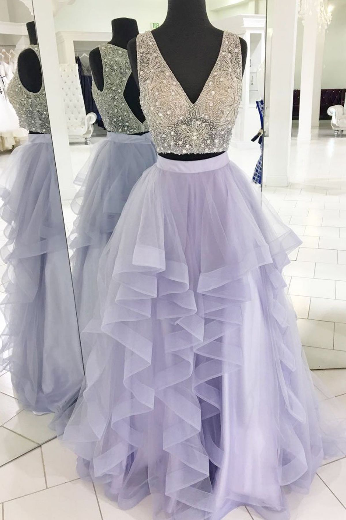 Lilac tulle two piece long beaded homecoming dress long ruffles