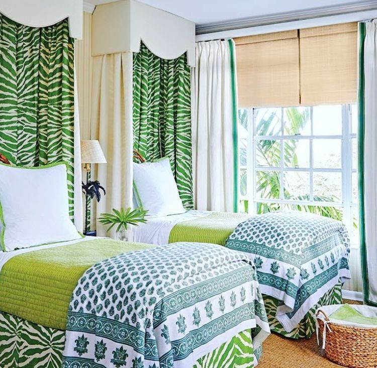 Bright And Bold Guest Bedroom: Bold Pattern, Twin Beds, Pelmet