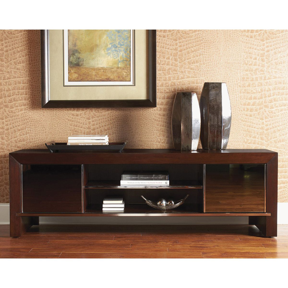TV Console   Bold By Design Yet Ultra Practical, The Sligh Studio Designs  Meridian 76 In. TV Console Elevates Your Living Room To Contemporary Home  Theater. Home Design Ideas