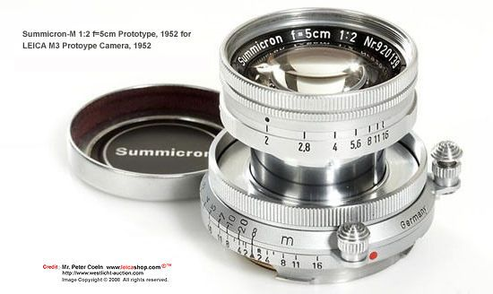 A matching prototype Simmicron-M 1:2 f=5cm collapsible with dual focusing knobs, 1952 for M3 prototype