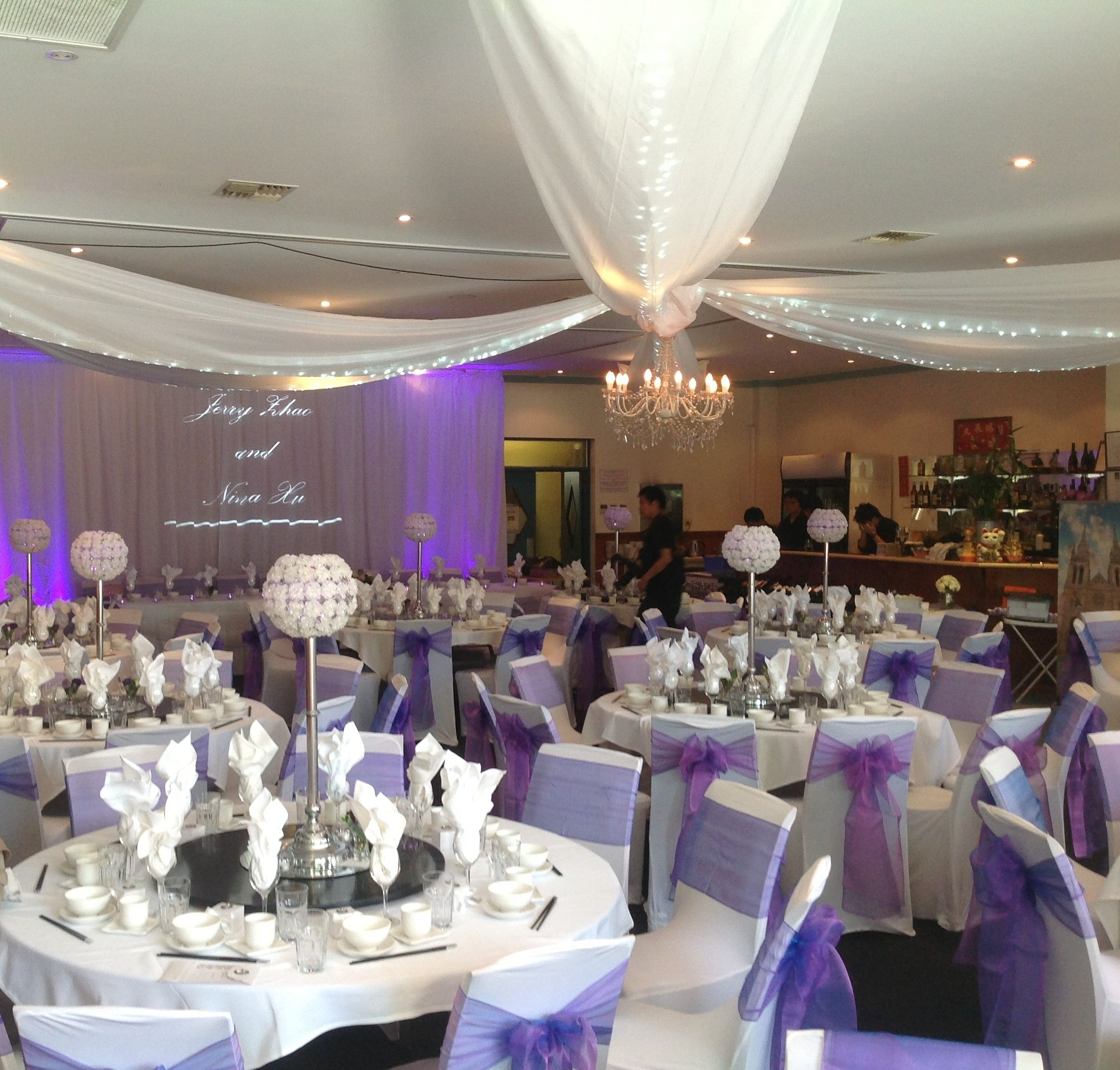 Adelaide wedding reception decor with ceiling swag and backdrop with adelaide wedding reception decor with ceiling swag and backdrop with bride and grooms names junglespirit Image collections
