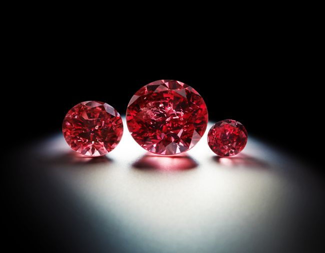 """The 1.56-carat fancy red """"Argyle Phoenix"""" diamond flanked by two fancy red diamonds from Rio Tinto's Pink Diamonds Tender Collection"""