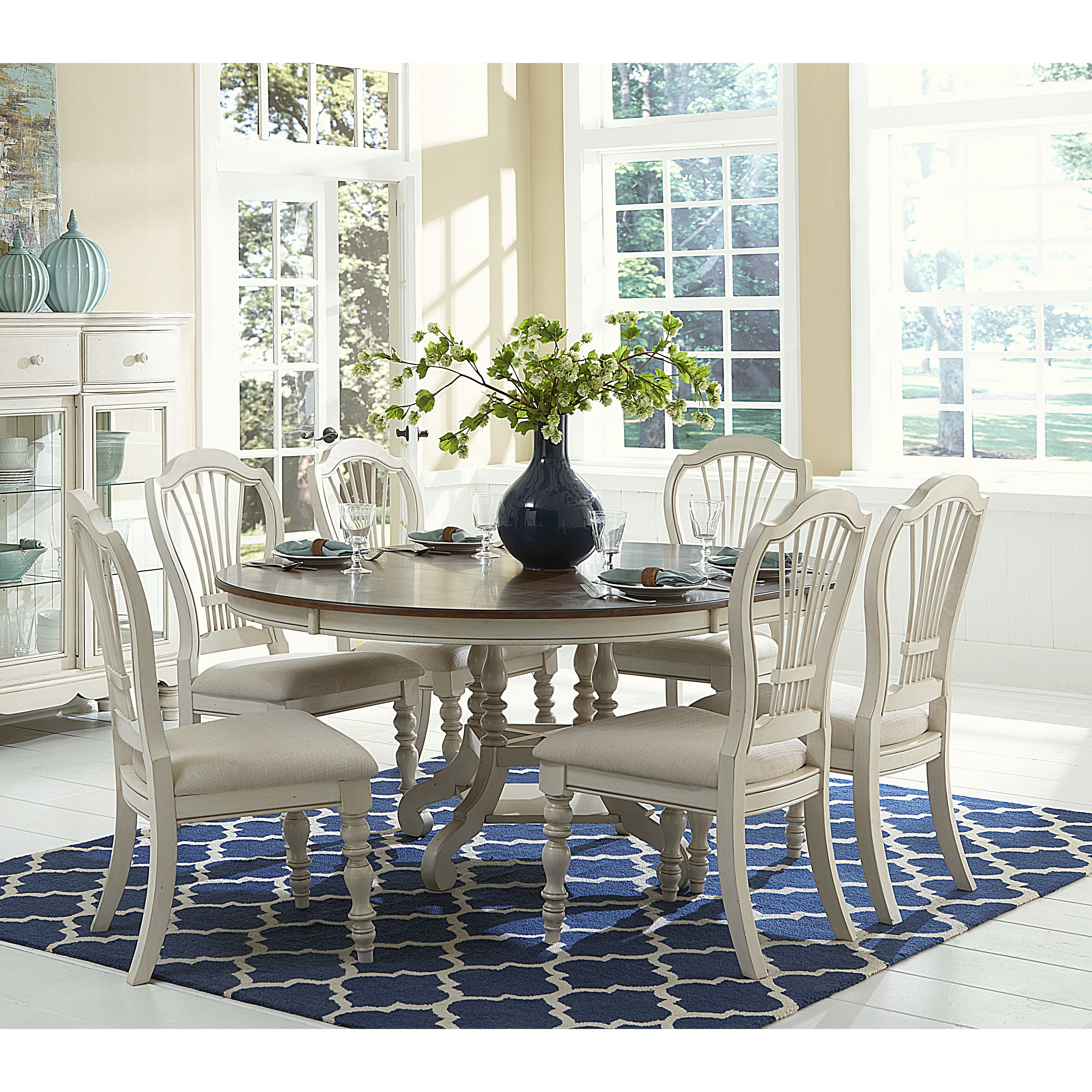 Hillsdale pine island round dining set pc ladder back chairs