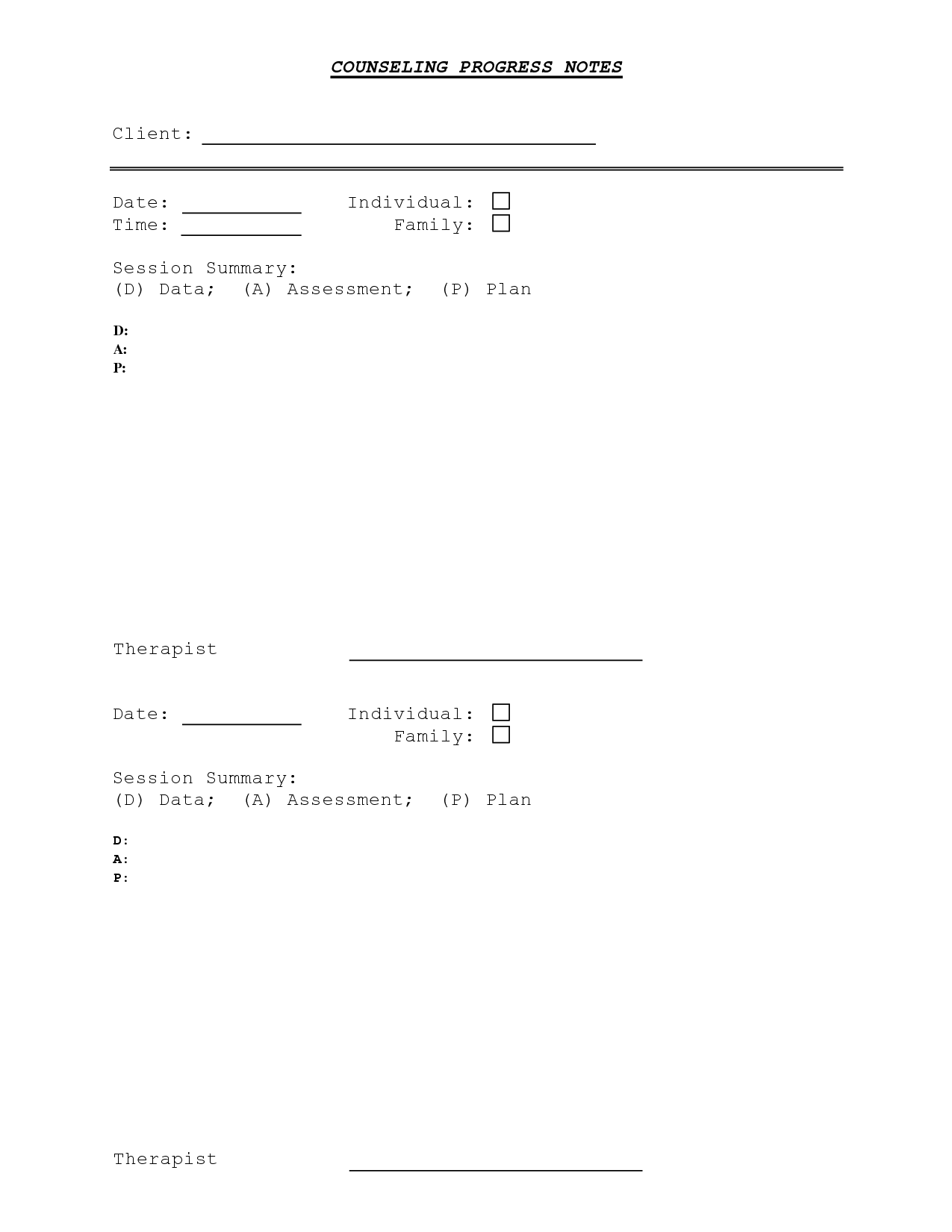 Counseling Progress Note Template | Counseling: DAP Notes ...