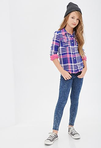 Plaid Collared Shirt (Kids) | FOREVER21 girls - 2000082400