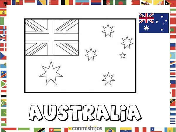 Niños De Paises Para Pintar: Bandera De Australia. Dibujos De Banderas Para Pintar