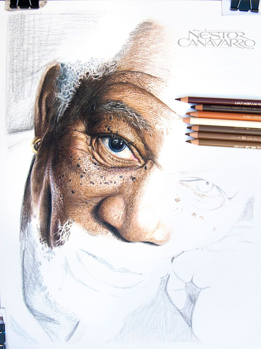 My Hour HighDetail Drawing Of Morgan Freeman In Color Pencils - Amazing hyper realistic pencil drawings celebrities nestor canavarro