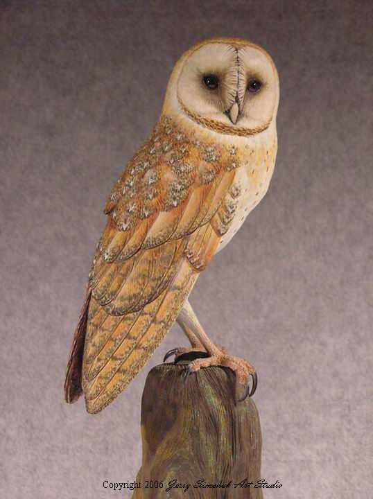 Barn owl sculpture artwork by jerry simchuk chouettes