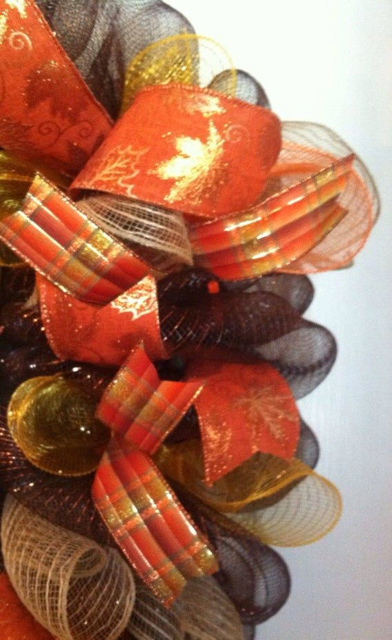 Fall Wreath/ Welcome Fall Mesh wreath/ Thanksgiving Wreath/ Deco Mesh Wreath/ Acorn Mesh Wreath #decomeshwreaths