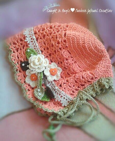 Baby bonnet .. size 3~6 months ♥♥ | Goals | Pinterest | Häkeln ...