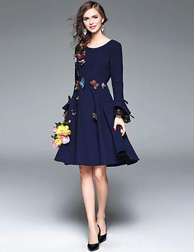 00992345f0803 Mujer Corte Swing Vestido Noche   Casual Diario   Trabajo Bonito   Chic de  Calle   Sofisticado