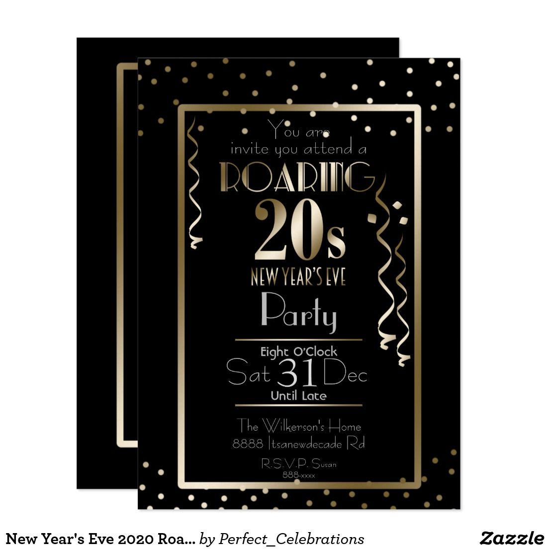 New Year's Eve 2020 Roaring 20s Retro Gold Invitation