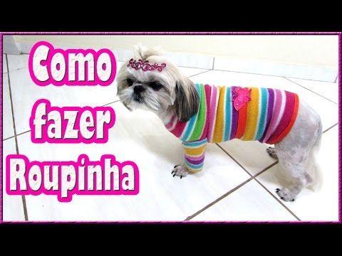35d4664c94 Faça você mesmo uma roupinha de cachorro com uma blusa velha!! Rápido,  fácil e linda!