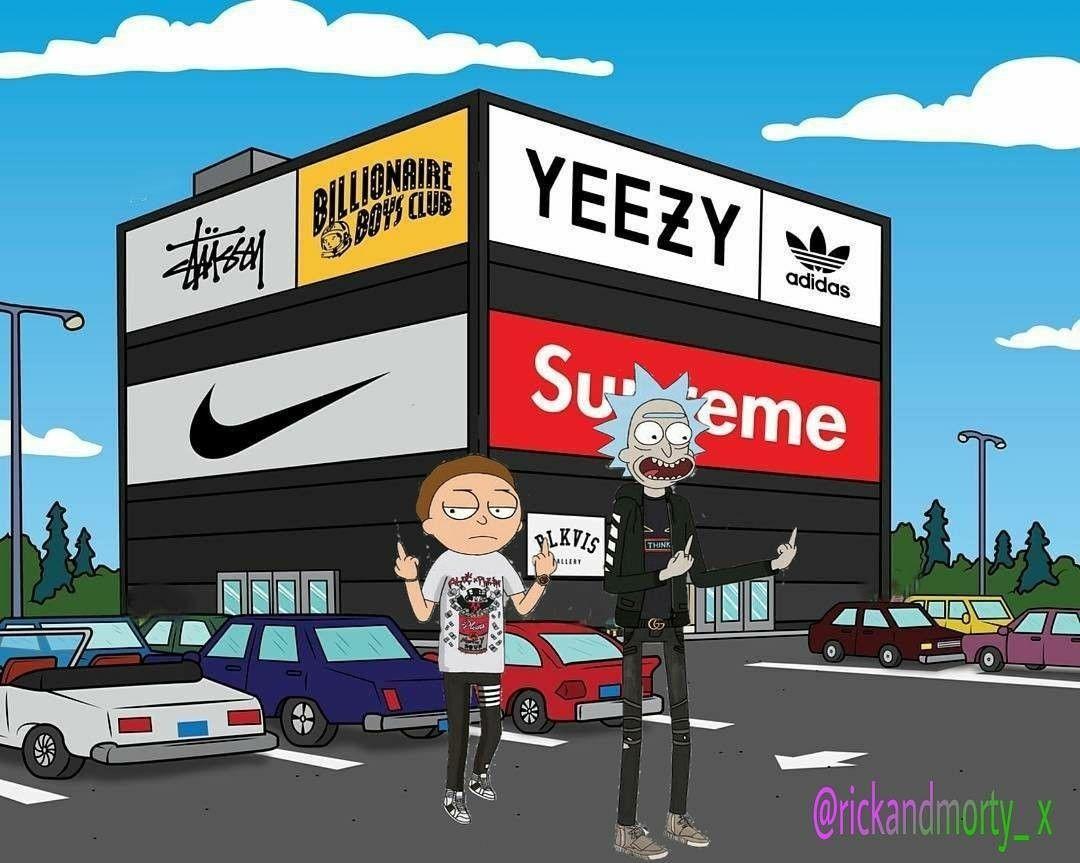 Rick And Morty X Supreme Rick And Morty Poster Rick And Morty Adidas Wallpapers