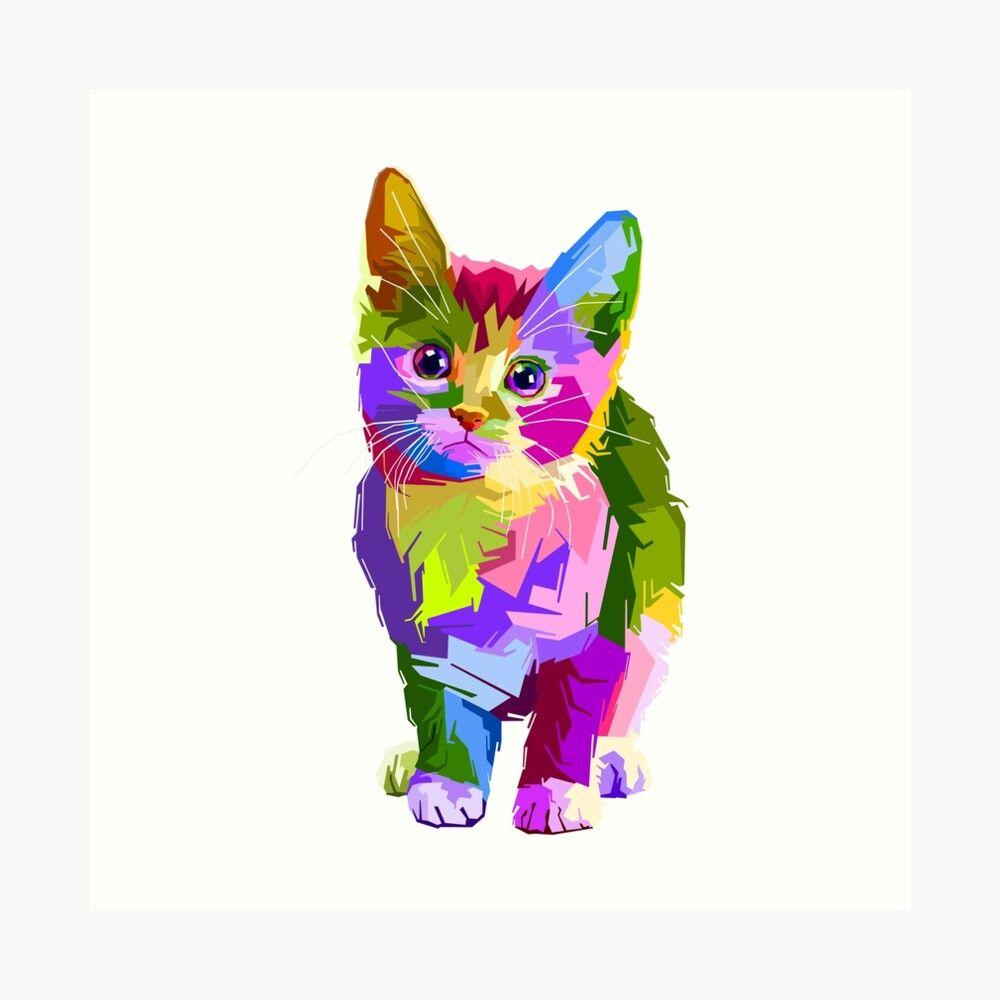 Colourful Kitten Artist Sketch Art Print By Svdpol Cat Art Pop Art Cat Cat Colors