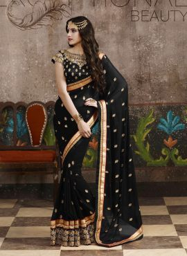 08655014ca Black Indian party wear Bengali georgette saree with blouse | latest ...