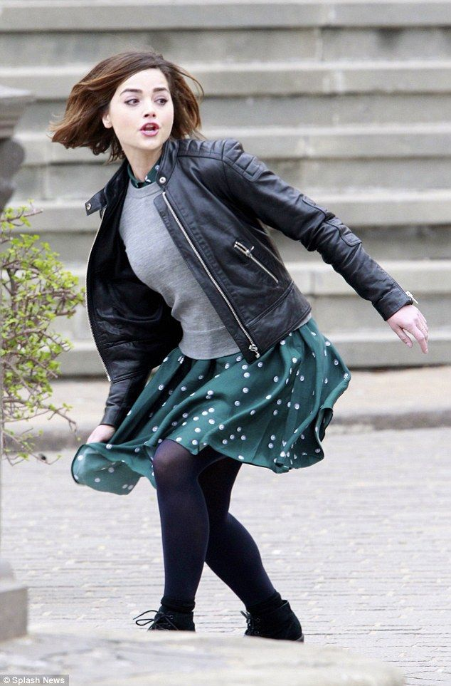 Action-packed adventure: The 28-year-old actress, who plays Clara Oswald, was seen running...