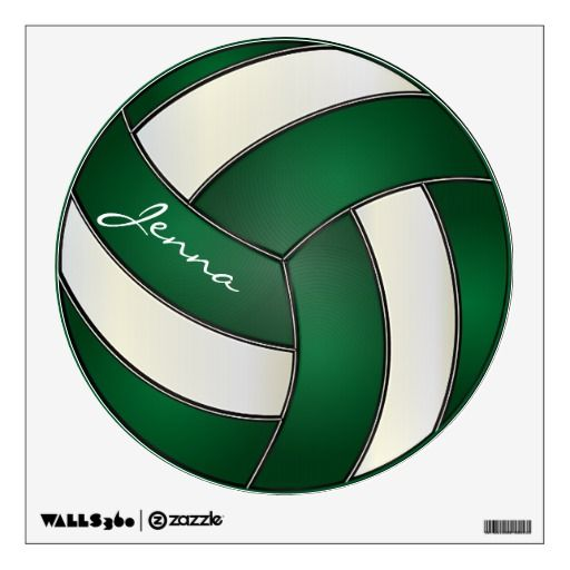 Green And White Personalize Volleyball Wall Decal Zazzle Com Wall Decals Sports Wall Decals Sports Wall