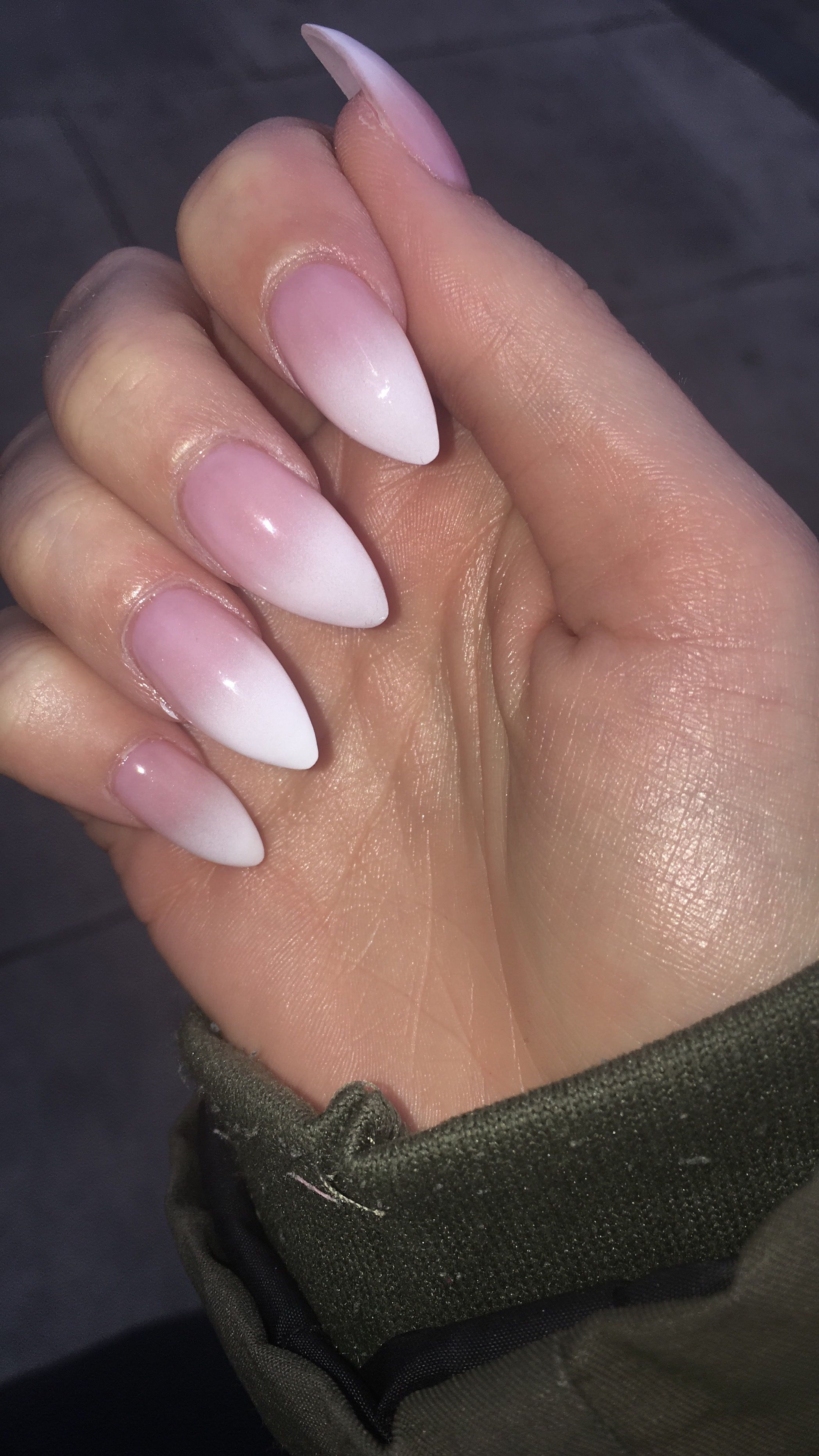 Ombre Pink To White Almond Shaped Acrylics White Tip Nails White Acrylic Nails Almond Acrylic Nails