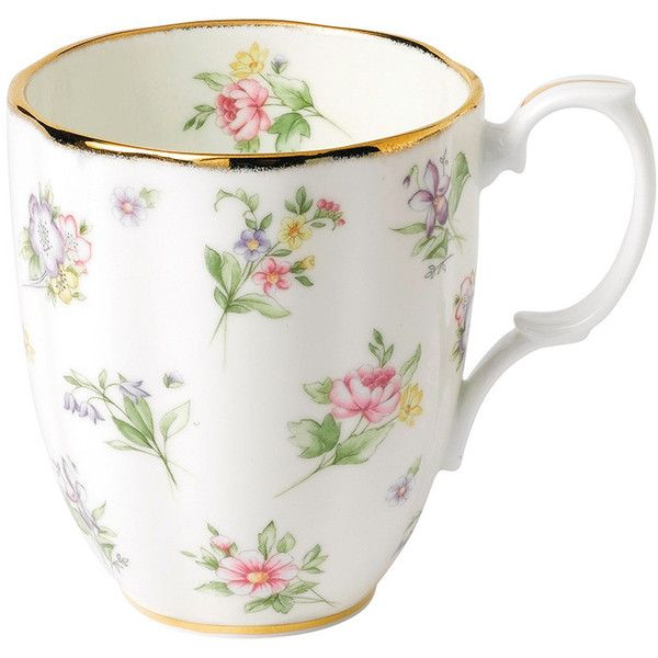 Royal Albert 100 Years Mug - 1920 Spring Meadow ($29) ❤ liked on Polyvore featuring home, kitchen & dining, drinkware, pink, floral mugs, pink mug and royal albert