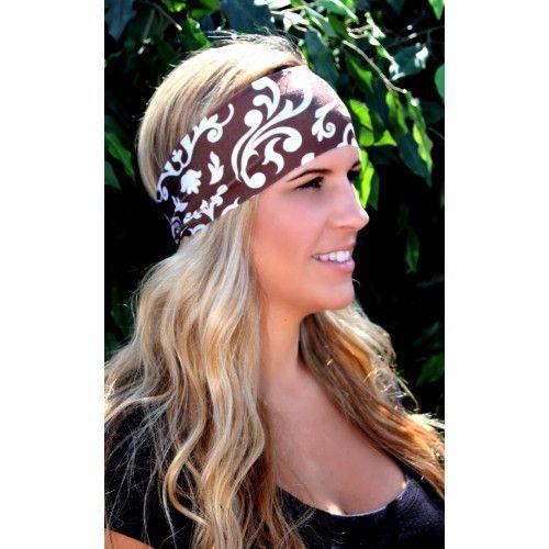 RAVEbandz Non Slip Sports & Fitness Headbands - BROWN & IVORY SWIRLS