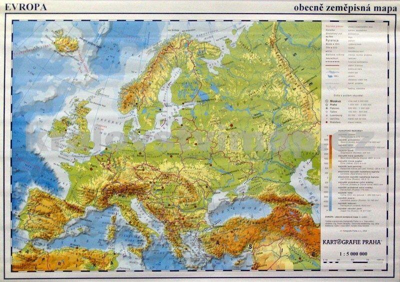Evropa Obecne Zemepisna Mapa A Fyzicka 20ks Mapek Nastenna Mapa