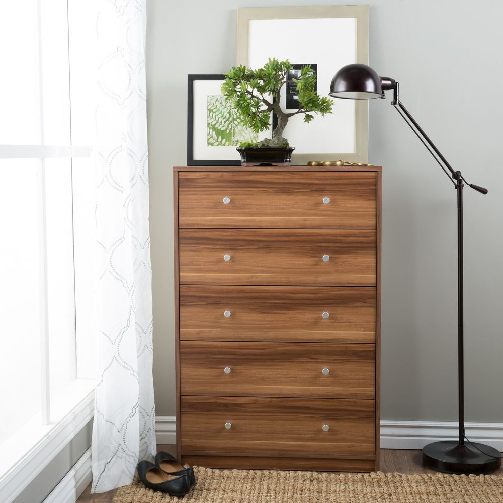 Contemporary chest drawer storage chestnut finish wood - Contemporary bedroom chest of drawers ...