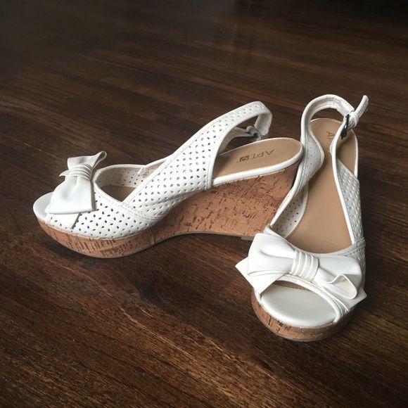 Apt 9 off white wedges Never worn! TEMPORARY SALE FOR DISCOUNTED SHIPPING. Prices go back up tomorrow! Apt. 9 Shoes Wedges