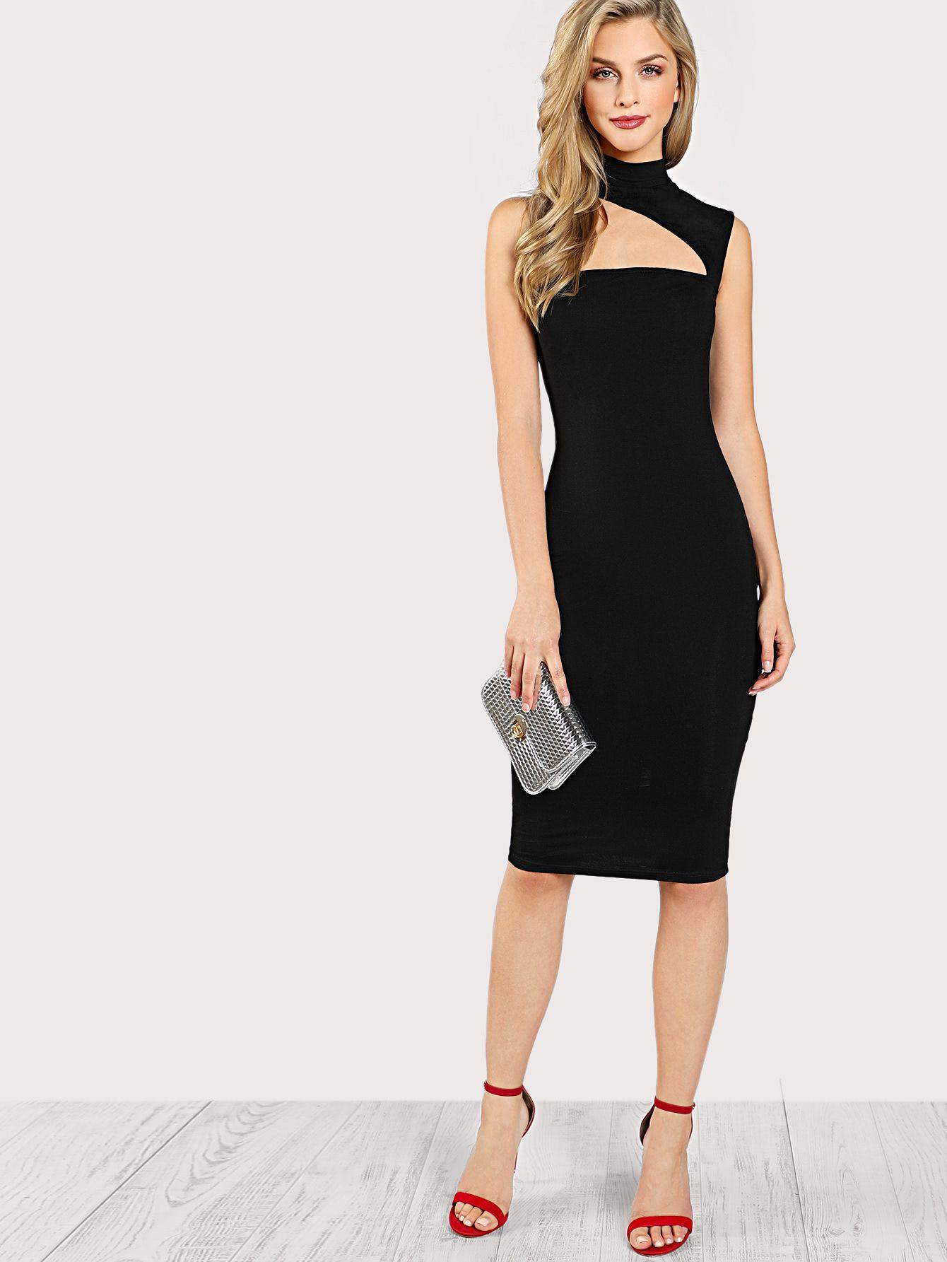 740db36986 Shop asymmetric cut out neck dress online shein offers asymmetric ...