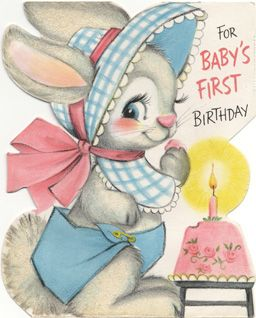 For Babys First Birthday Vintage Cards Rabbits