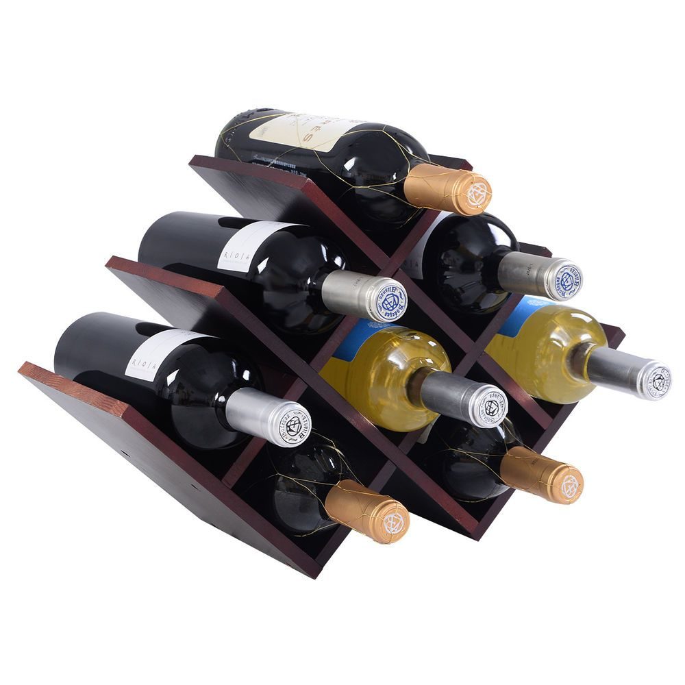 New 8 Bottle Wood Wine Rack Butterfly Bottle Holder Countertop