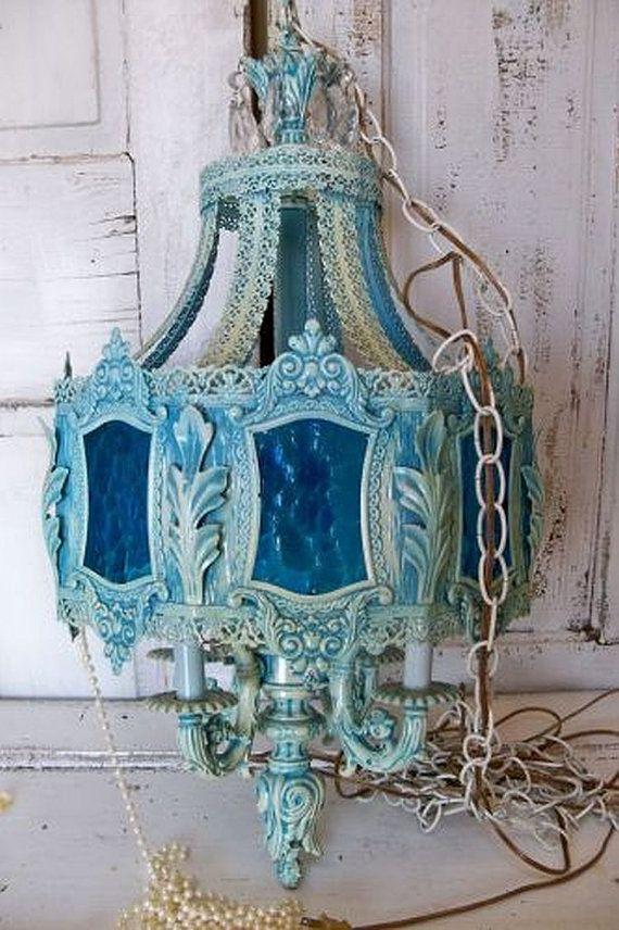 Very large blue chandelier swag lighting metal glass shabby chic ornate vintage rare piece Anita Spero & Very large blue chandelier swag lighting metal ?? AnitaSperoDesign ... azcodes.com
