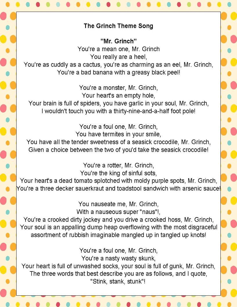 """Fit to be Fourth Similes & Metaphors in """"The Grinch Song"""