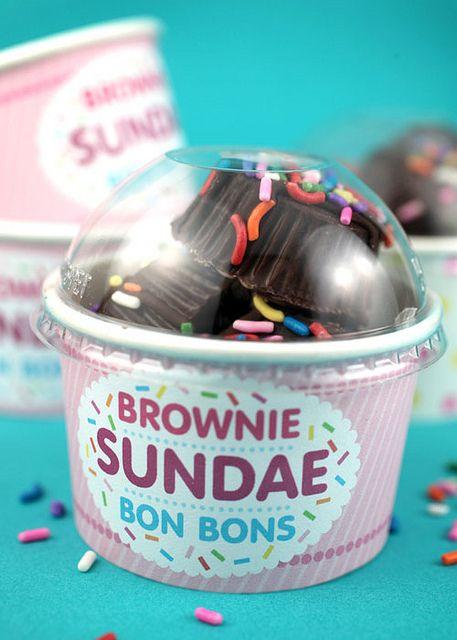 Another creative Bakerella recipe: chocolate-coated ice cream brownie bites!