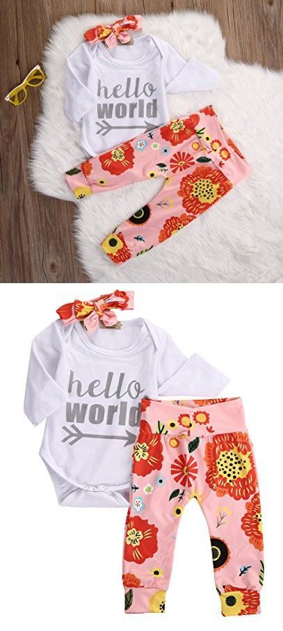 bbc41882548c Newborn Baby Girls Top Rompers+Floral Pants Leggings Headband 3pcs Outfits  Set (0-3 Months, Sliver Hello World)