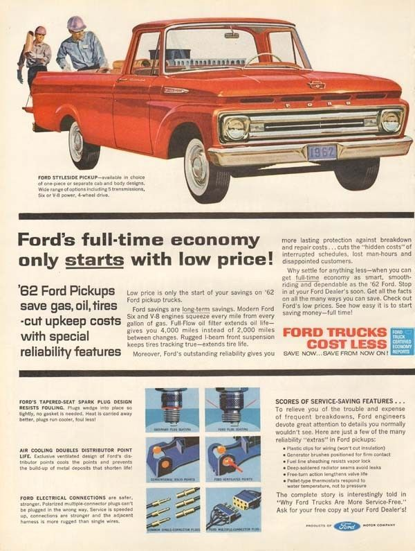 Details About 1962 Vintage Ford Styleside Pickup Truck Automobile Auto Car Contractor Work Ad Ford Trucks Best Pickup Truck Trucks Print