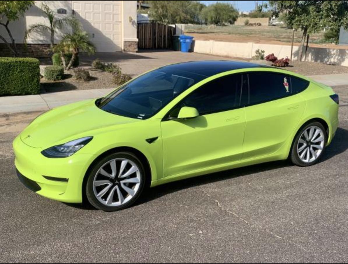 Lime Green Wrapped Telsa Model 3 The Grinch Tesla Model Tesla Automotive Design
