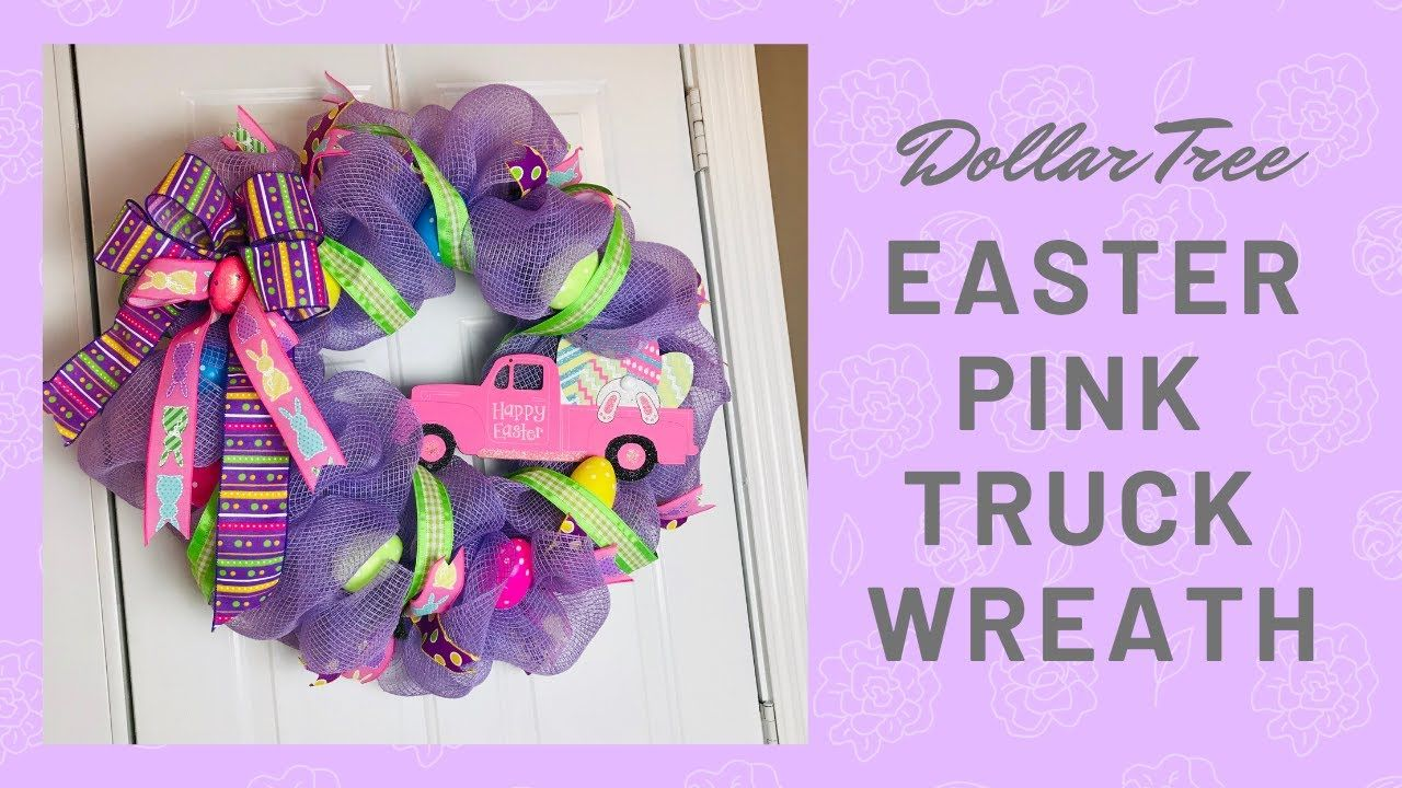 Photo of Easter Dollar Tree Pink Truck decorative wreath tutorial with the poof / pouf method and the zigzag method ?
