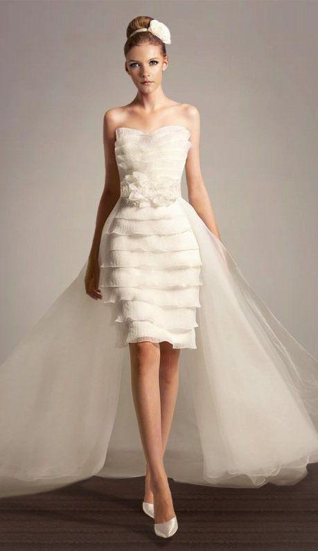Short Wedding Dress With A Detachable Train Short Wedding