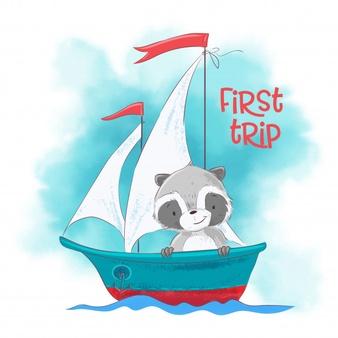 Cute Cartoon Raccoon On A Sailing Ship Cute Cartoon Cartoon Ship Vector
