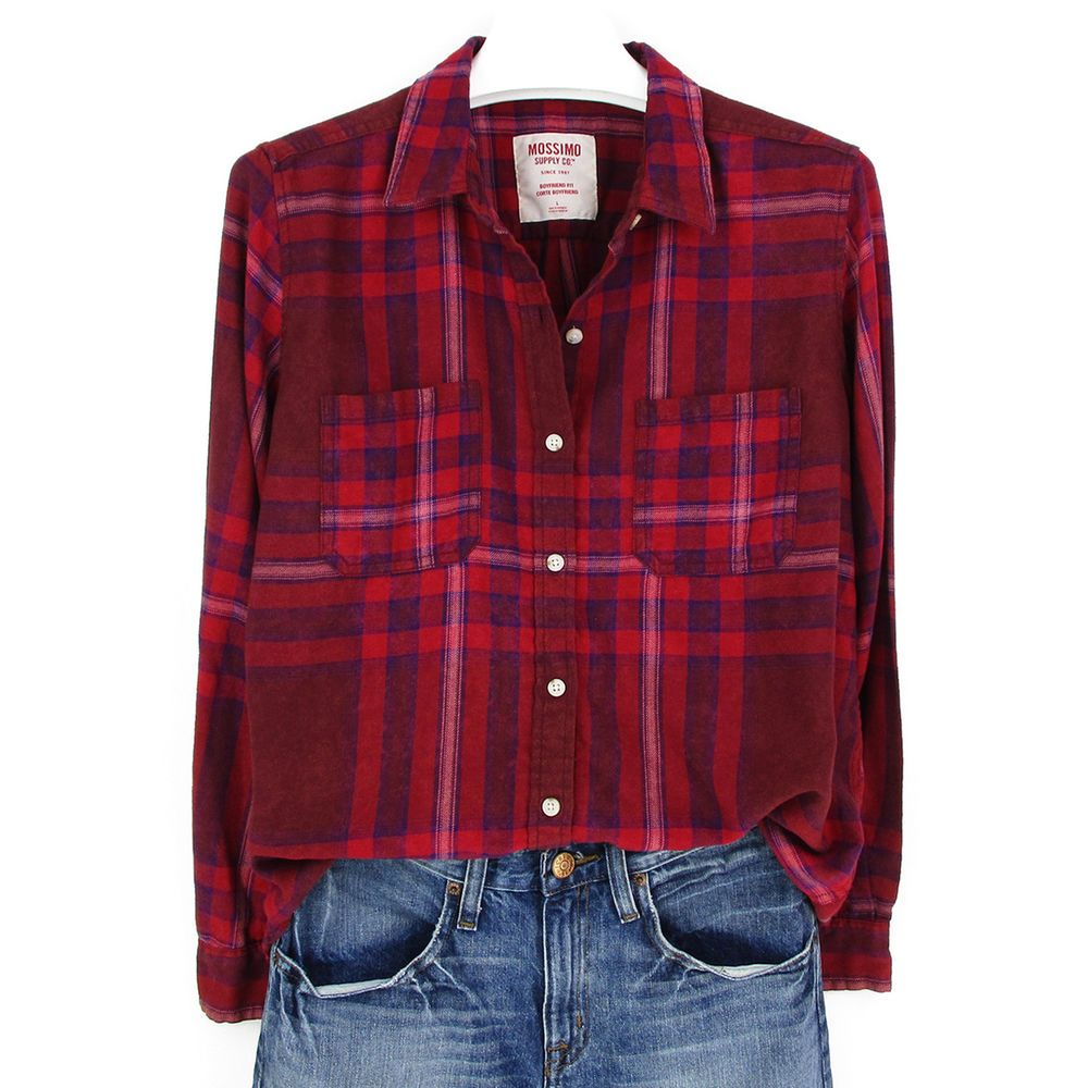 a2d9a5963 Womens Size Large L Flannel Plaid Shirt Red Boyfriend Fit Top Long Sleeve  Xmas #Mossimo #Blouse #Casual