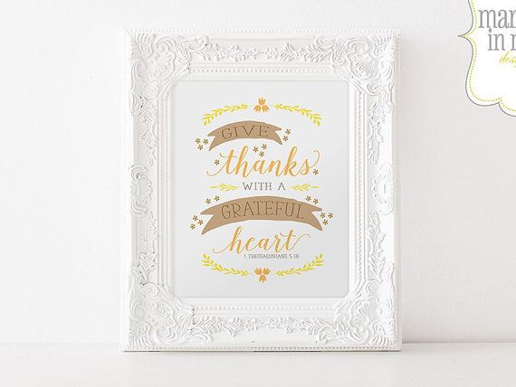 INSTANT DOWNLOAD // Give Thanks with a Grateful Heart // DIY Printable Sign // Fall Decor // Digital Wall Art Sign // Autumn Printable