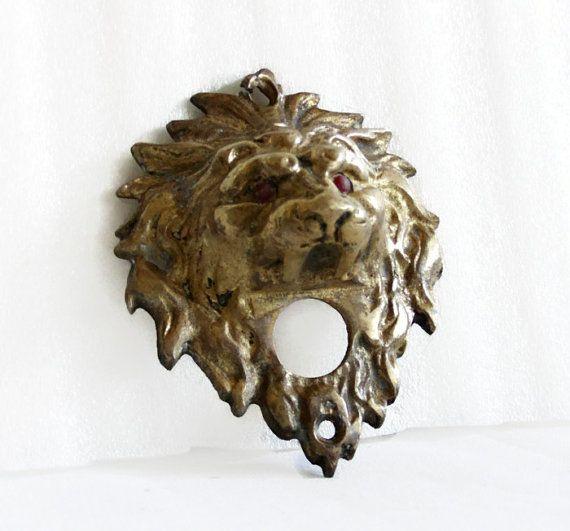 Pair Architectural Large Metal Gothic LION Head Hardware Coat Hooks