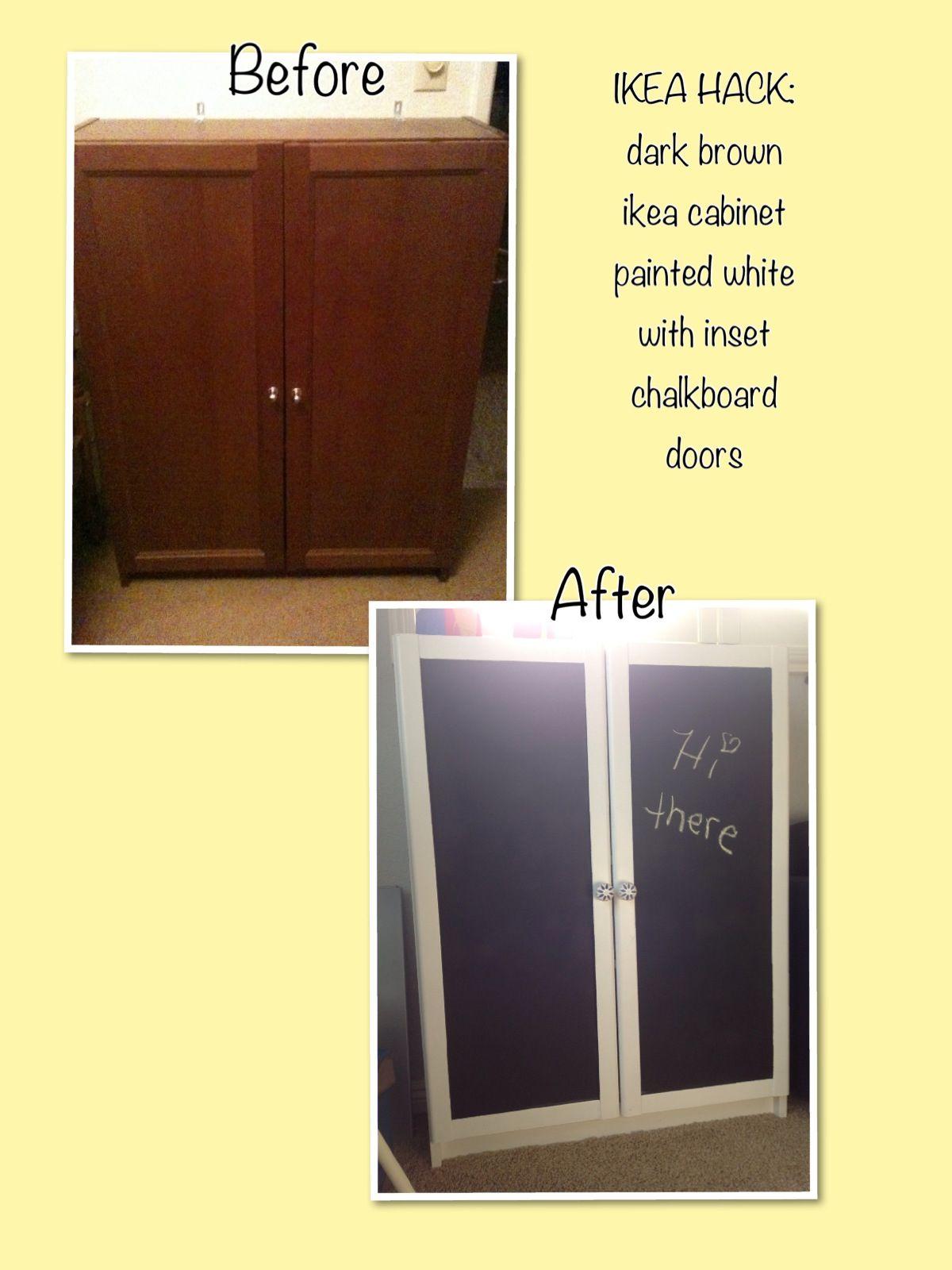 Ikea Hack Dark Brown Billy Bookcase With Doors White Semi Gloss Paint Black Chalkboard Ceramic S