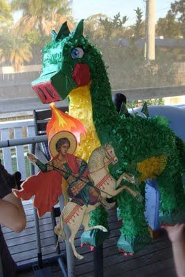 Combining celebrations with Catholic beliefs with this St. George and the Dragon piñata
