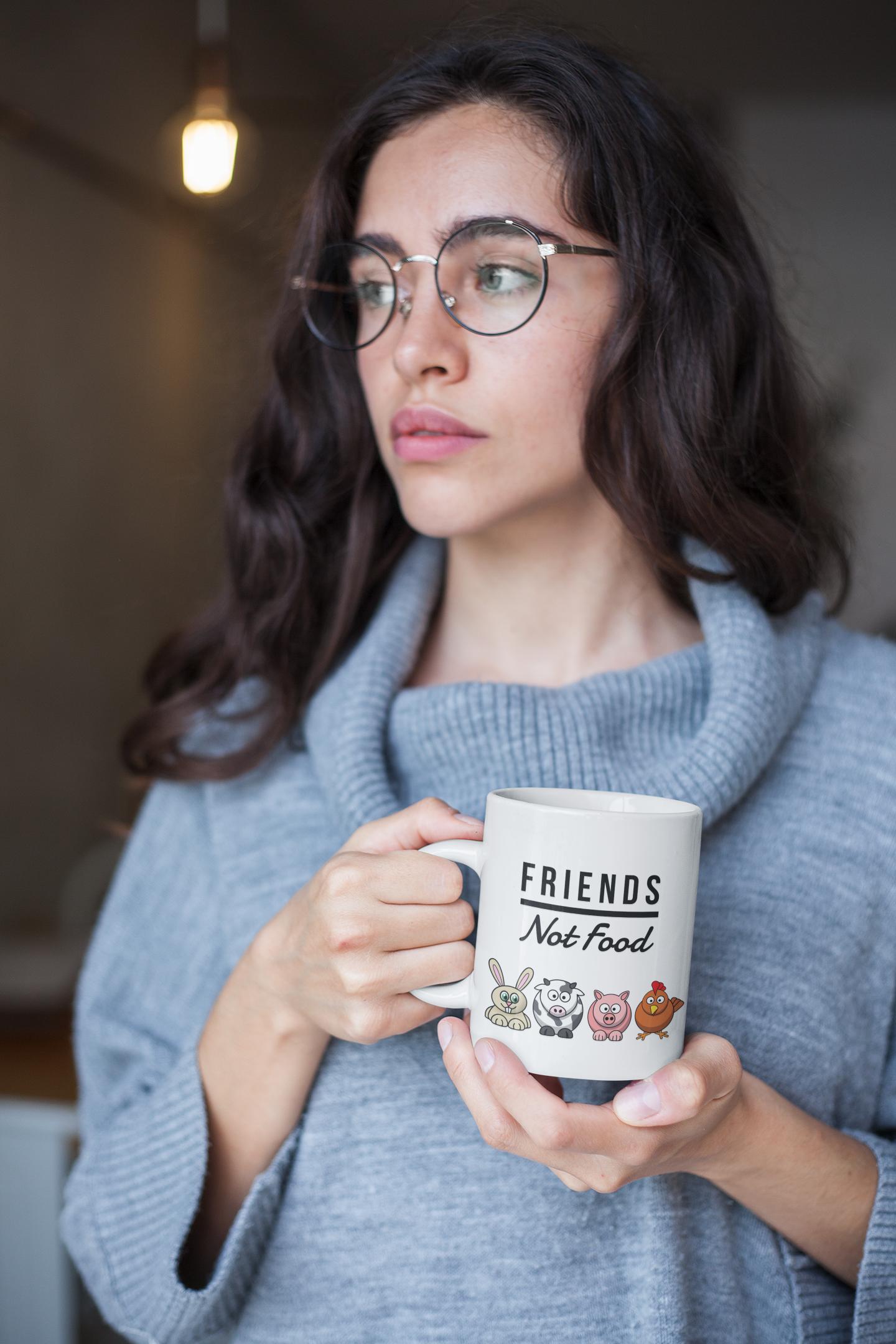Funny Vegan Mug Friends Not Food Gag For Vegetarian Coffee Cup Birthday Gift Bday Coworkers Men Women Present Idea Boyfriend Girlfriend This Hilarious