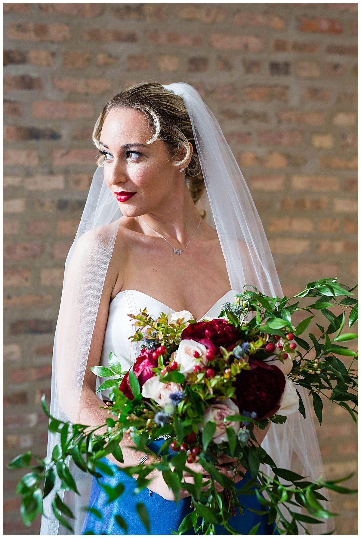 cubs themed wedding, hair and makeup by chicago makeup