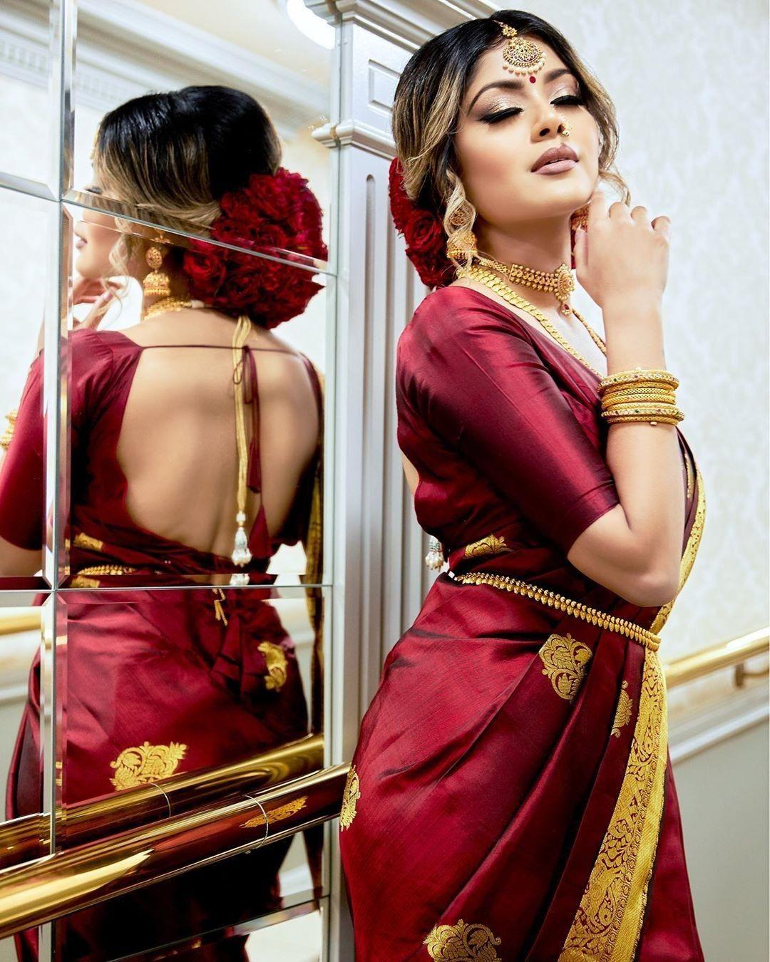 Dark Maroon Kanchipuram Silk Saree At Kanjivaramsilks Com In 2020 Kerala Wedding Saree Saree Wedding Maroon Saree